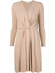 Lanvin Draped V Neck Dress Nude And Neutrals