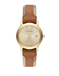 Burberry Ladies The City Watch With Leather And Haymarket Strap Brown