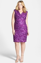 Marina Soutache Embroidered Lace Dress Plus Size Plum