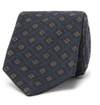 Kingsman Drake's Diamond Patterned Wool Tie Blue