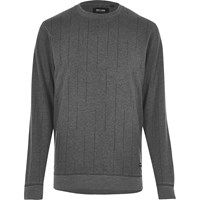 Only And Sons River Island Mens Black Broken Stripe Sweatshirt