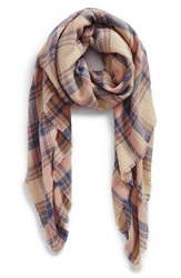 Bp 'Pretty Plaid' Oblong Scarf Tan Multi