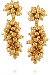 Paula Mendoza Two Grapes Two Mulberries Gold Plated Earrings Metallic