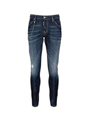 Dsquared 'Sexy Twist' Distressed Stretch Denim Jeans Blue