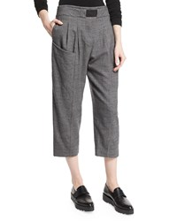 Thakoon Pleated Front Cropped Trousers Gray Grey
