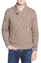 Toscano 'Fisherman' Shawl Collar Cable Knit Sweater Beige