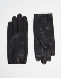 Asos Plain Leather Gloves With Touch Screen Black