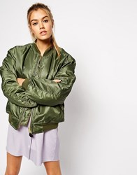 Asos Reclaimed Vintage Flying Bomber Jacket With Applique Khaki