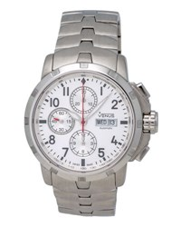 Venus Of Switzerland Time Date Gent Chronograph Watch W Bracelet Silver