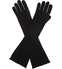 Cash Ca Long Cashmere Gloves Black