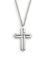 Saks Fifth Avenue 14K Yellow Gold Titanium And Stainless Steel Cross Necklace Silver
