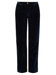 A.P.C. Sailor Stretch Cotton Corduroy Cropped Trousers Dark Blue