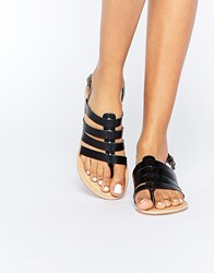 Park Lane Strappy Leather Flat Sandals Black