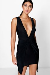 Boohoo Plunge Neck Drape Detail Dress Black