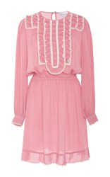 Red Valentino Ruffle Front Silk Georgette Short Dress Pink