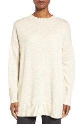 Eileen Fisher Women's Lush Merino Wool Blend Oversize Crewneck Sweater Maple Oat