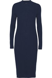 Maison Martin Margiela Ribbed Wool Midi Dress Navy
