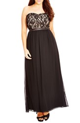 City Chic Plus Size Women's 'Romantic Dance' Lace And Chiffon Gown