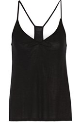 Enza Costa Gathered Ribbed Jersey Tank Black