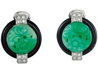 Kenneth Jay Lane 7601Ebj Base And Top With Crystal Sides Deco Clip Earrings Jade Black Earring Multi