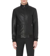 Reiss Blaze Leather Jacket Black