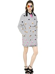 Marco De Vincenzo Mohair Embroidered Wool Boucle Coat