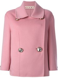 Marni Embellished Button Blazer Pink And Purple