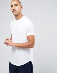 Asos Super Longline T Shirt With Curved Front And Back Hem In White Heavy Mesh Fabric White