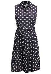Hobbs Cath Summer Dress Navy Ivory Dark Blue