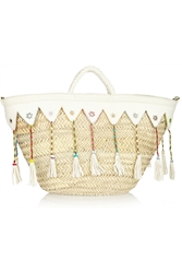Finds Embellished Raffia And Leather Tote
