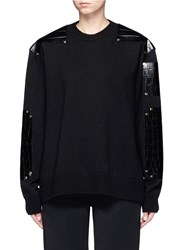 Givenchy Croc Embossed Leather Patch Wool Sweater Black