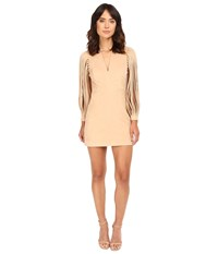 Halston Strappy Long Sleeve Ultrasuede Dress Sand Women's Dress Beige
