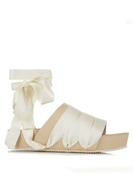 Ellery Flamingo Ribbon And Leather Slides Tan