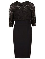 Gina Bacconi Moss Crepe Dress With Lace Overtop Black
