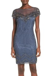 Pisarro Nights Women's Beaded Illusion Yoke Mesh Sheath Dress