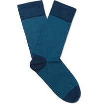 John Smedley Sedley Hera Striped Sea Island Cotton Blend Socks Blue