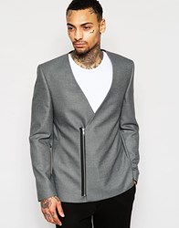 Asos Slim Collarless Blazer With Zip Fastening In Gray Gray