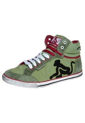Drunknmunky Boston Vintage Hightop Trainers Green Red