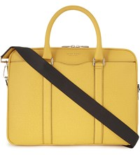 Hugo Boss Signature Textured Leather Briefcase Dark Yellow