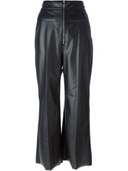 Sportmax Faux Leather Flared Trousers Black
