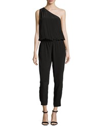 Joie Cassia One Shoulder Silk Jumpsuit Vintage Caviar