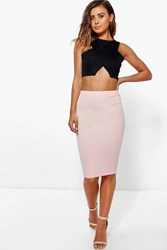 Boohoo April Basic Midi Bodycon Skirt Nude