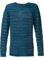The Elder Statesman Crew Neck Jumper Blue