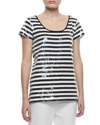 Joan Vass Sequined Striped Short Sleeve Tee Petite