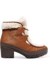Tory Burch Berkley Calf Hair And Shearling Ankle Boots Tan