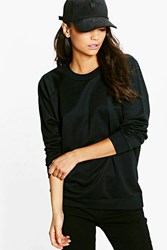 Boohoo Maiya Crew Neck Oversized Sweat Shirt Black