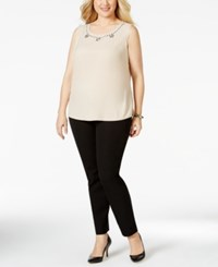 Kasper Plus Size Embellished Sleeveless Blouse Lt Beige