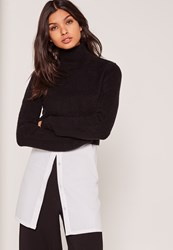 Missguided Black Turtle Neck Fluffy Sweater