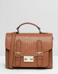 Asos Weave Satchel Bag Chocolate Brown
