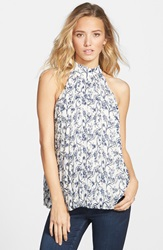 Frenchi Print Collared Tank Juniors White
